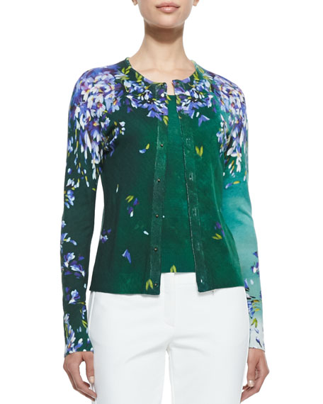 882d3e31ed Escada Long Sleeve Floral Cardigan