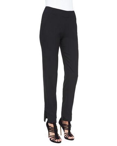 Slim Pants with Satin Hem, Charcoal