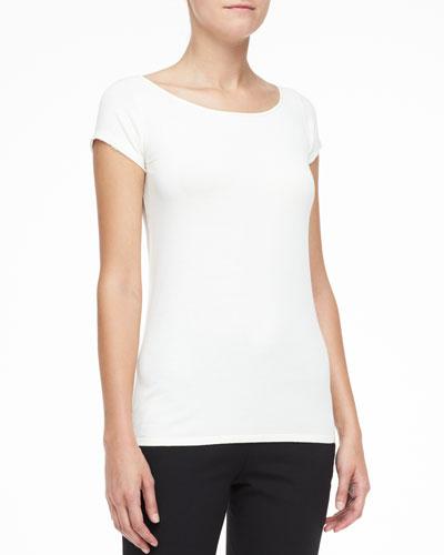 Silk-Trim Cap-Sleeve Top