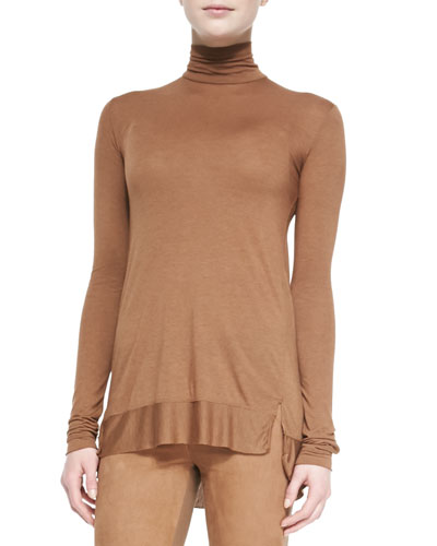 Long-Sleeve Turtleneck Top, Vicuna