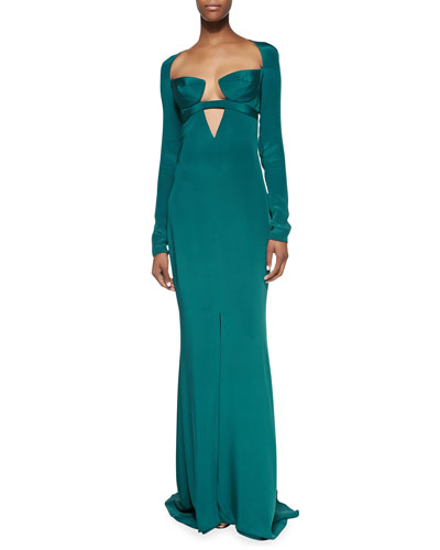Cutout Long-Sleeve Gown with Triangle Bra