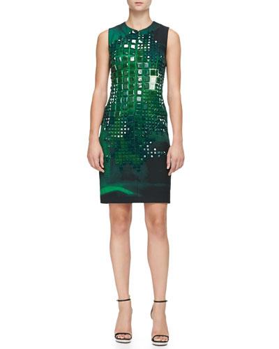 Sleeveless Square-Stone-Embellished Dress