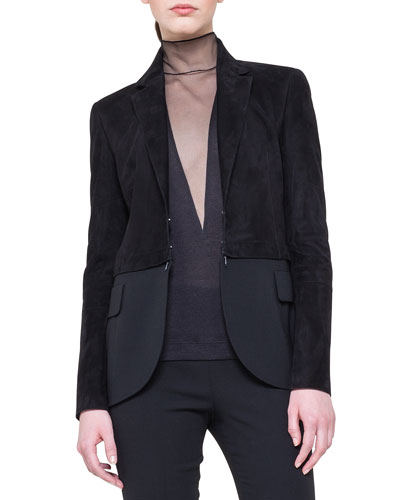 Suede Detachable-Bottom Combo Jacket