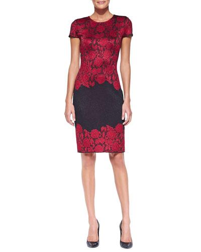 Textured Lace Jacquard Dress, Navy/Cardinal