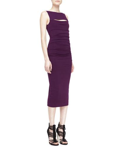 Sleeveless Peekaboo Sheath Dress, Wood Violet