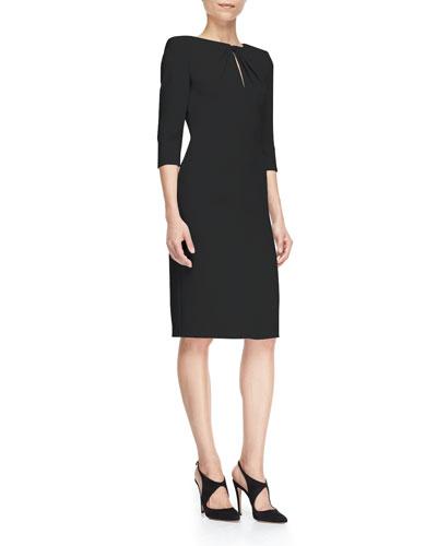 Cady 3/4-Sleeve Gathered-Keyhole Sheath Dress