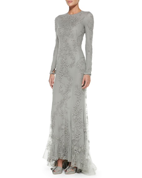 Long Sleeve Beaded Evening Gown