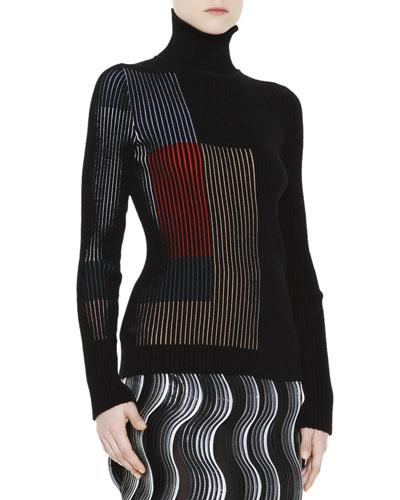 Long-Sleeve Rib-Knit Optical Sweater, Black/Multi