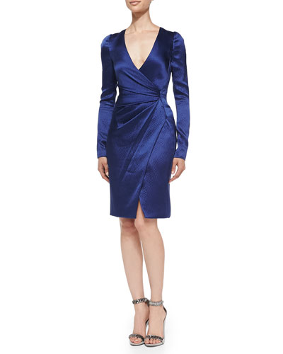 Silk Long-Sleeve Deep-V Wrap Dress, Marine Blue