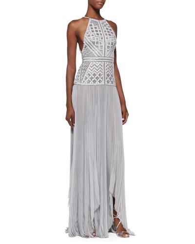 Beaded Drop-Waist Halter Gown, Gris Gray