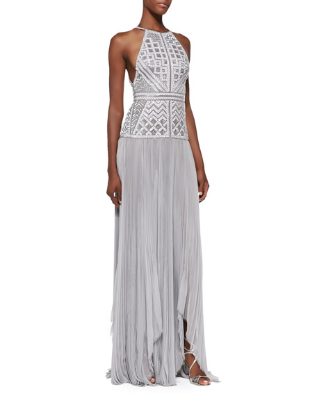 Beaded Drop-Waist Halter Gown Gris Gray