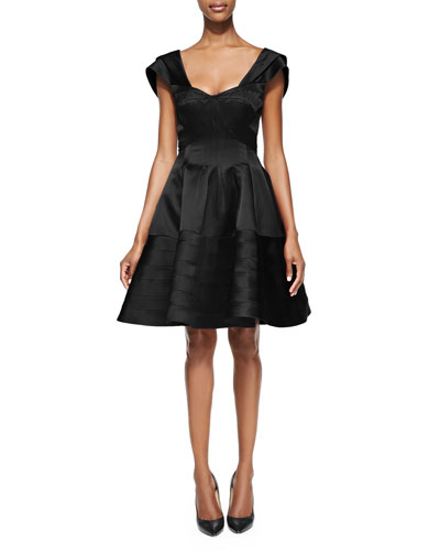 Flared Scoop-Neck Cap-Sleeve Dress