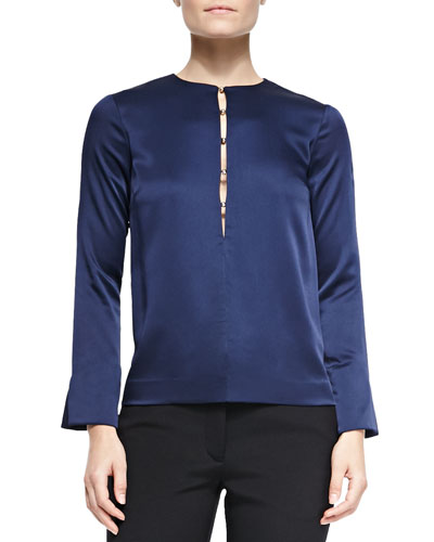 Long-Sleeve Half Button-Front Blouse
