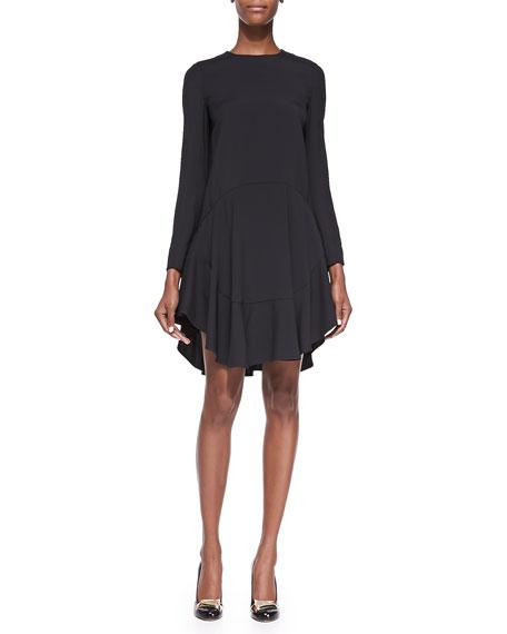 Chloe Long Sleeve Drop Waist Peplum Dress Black