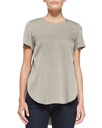 Overlapping Side-Seam Blouse, Silver Sage
