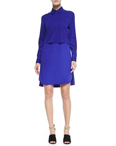 Silk Double-Layer Collar Dress