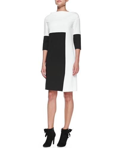 3/4-Sleeve Colorblock Jersey Dress with Crisscross Hem