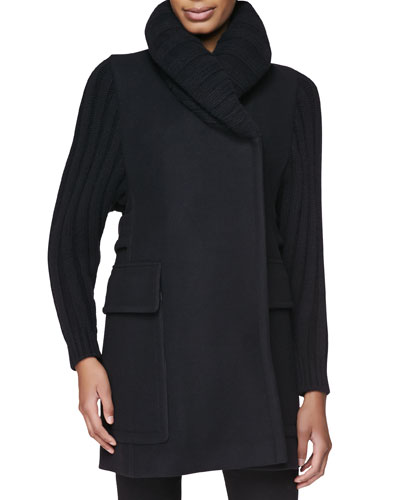 Wool-Blend Jacket with Ribbed Knit Sleeves