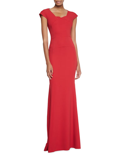 Sitobion Cap-Sleeve Trumpet Gown, Red