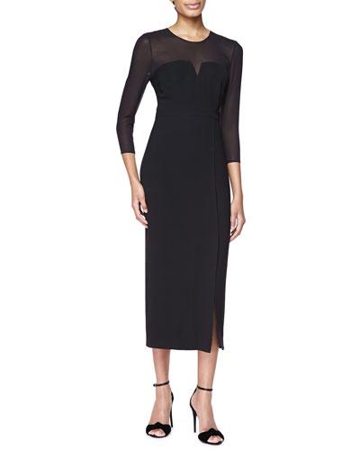 Long-Sleeve Sheer-Top Midi Dress, Black
