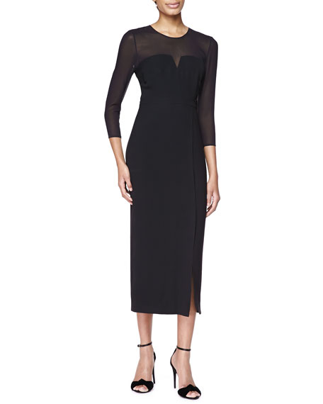 Burberry London Long Sleeve Sheer Top Midi Dress Black