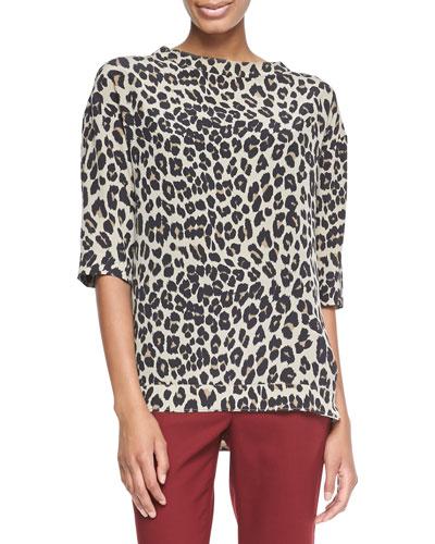 Leopard-Print Elbow-Sleeve Top