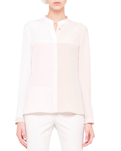 Long-Sleeve Colorblock Blouse