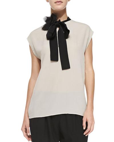Dolman-Sleeve Top w/ Flower & Necktie