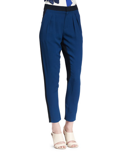 Pleated Two-Tone Cady Pants