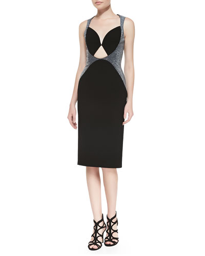 Leather-Panel Cutout Sheath Dress