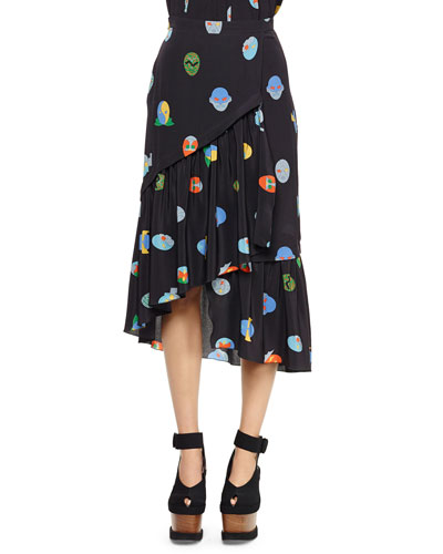 Superhero-Print Tiered Asymmetric Skirt