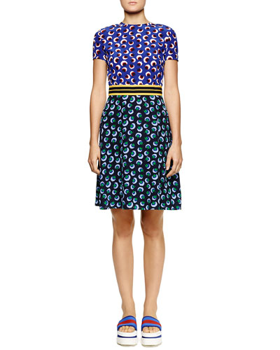 Mixed Blossom-Print Fit-and-Flare Dress, Midnight