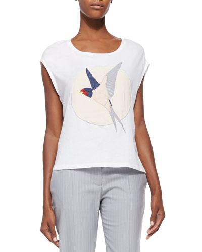 Starling Bird-Applique T-Shirt, White