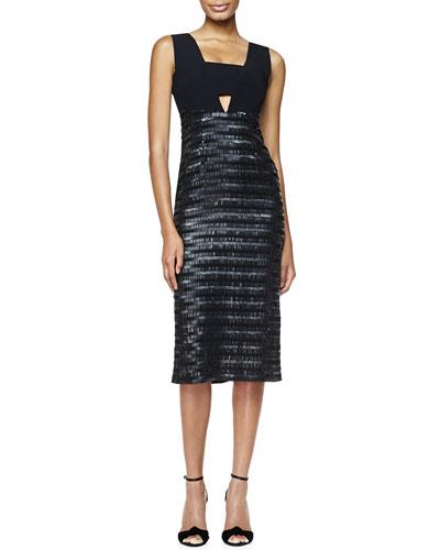 Embroidered Evening Dress, Black