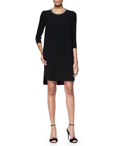 3/4-Sleeve Chain-Trim Shift Dress, Black