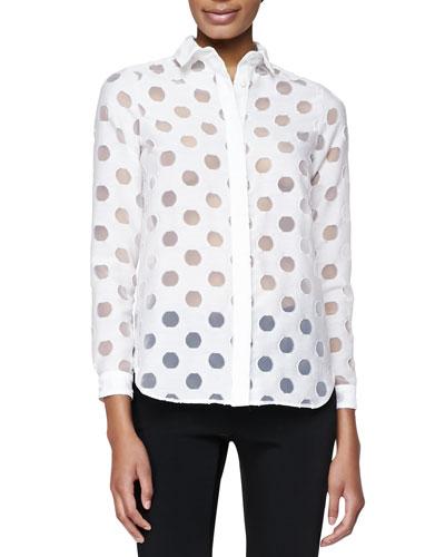 Sheer-Dot Wide-Placket Shirt