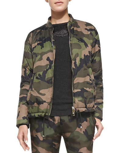 Zip-Front Camo Jacket w/ Drawstring Hem