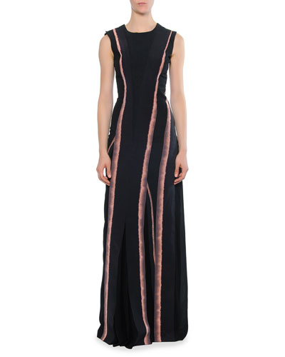 Jewel-Neck Bleached Vertical-Striped Dress