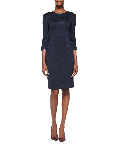 Matte & Shine Dot Milano Knit Dress, Navy