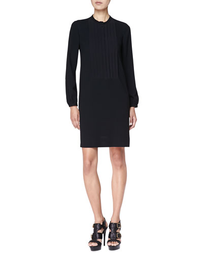 Pintuck-Front Tunic Dress, Black