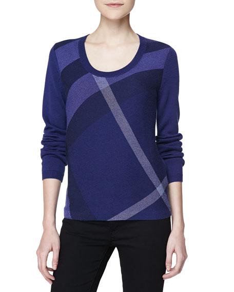 74bfb94e6da575 Burberry Brit Check Knit Long-Sleeve Sweater, Blue