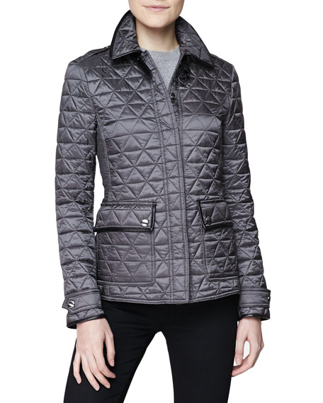 Diamond Quilted Leather Trim Jacket