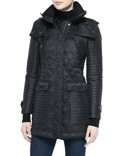 Multi-Quilted Hooded Parka