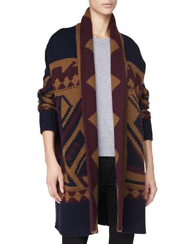 Graphic Long Wool Cardigan