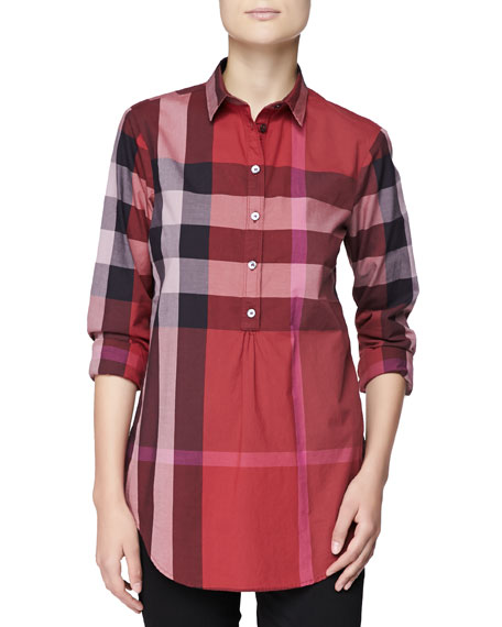 22d34718f1b Burberry Brit Long-Sleeve Half-Button Check Top, Berry Red