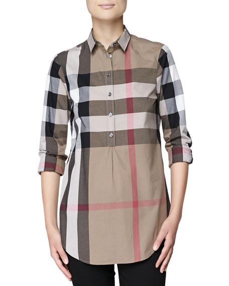 695b641e353 Burberry Brit Check Cotton Half-Button Tunic Shirt