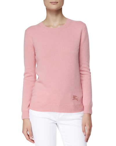 Cashmere-Cotton Crewneck Sweater, Coral Pink