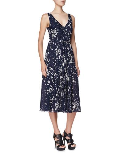 Sleeveless Floral-Print Silk Dress