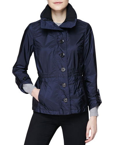 Fitted Single-Breasted Drawstring Jacket