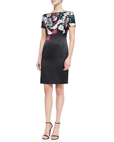 Midnight Floral-Print Stretch Satin Dress, Caviar